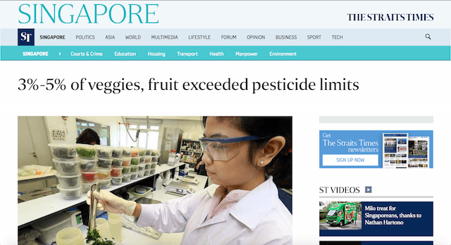 Veggies and fruits in Singapore exceed pesticide limits